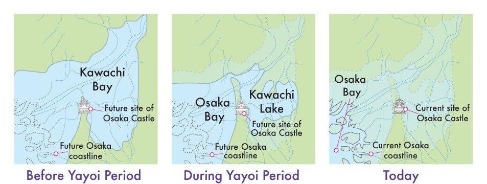 Maps showing Osaka's changing coastline through history.