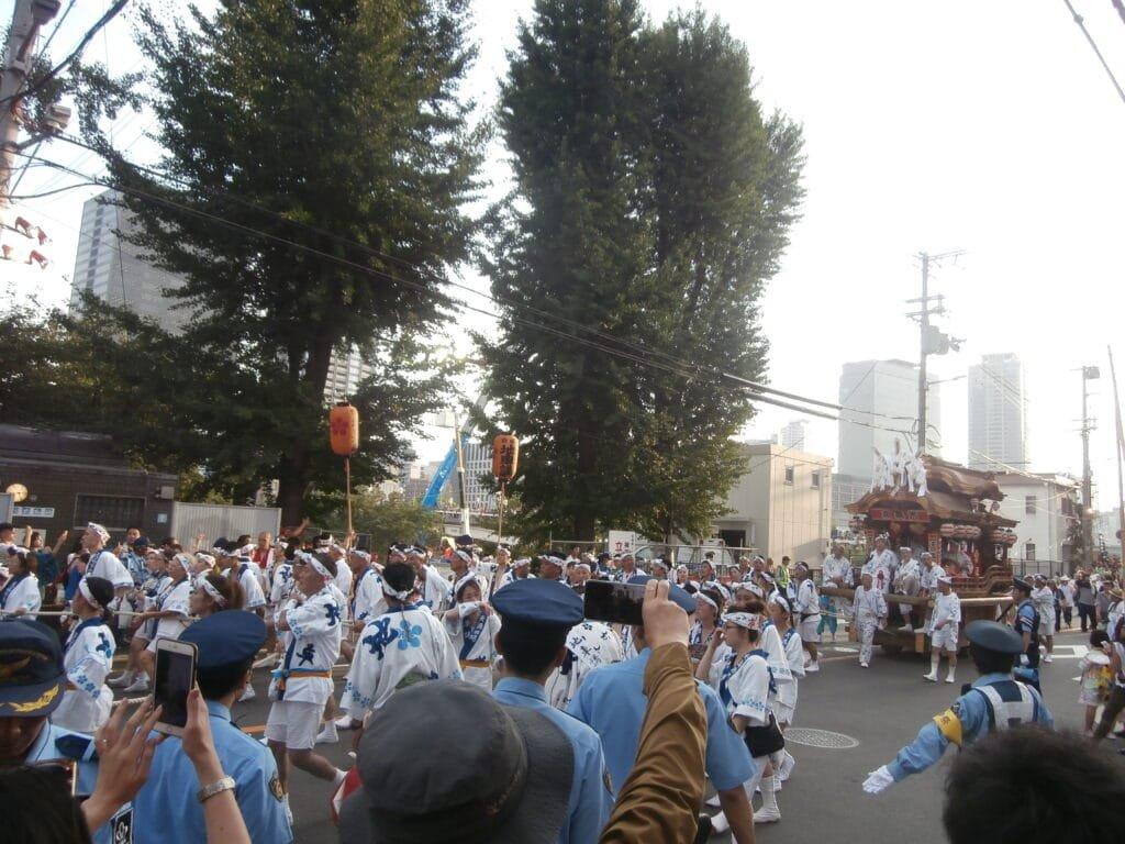 Mikoshi procession at Tenjin Matsuri.