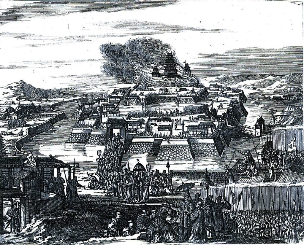 1663 representation of the destruction of Osaka Castle by Tokugawa forces. Source: Wikipedia https://commons.wikimedia.org/wiki/File:Caron1663.jpg