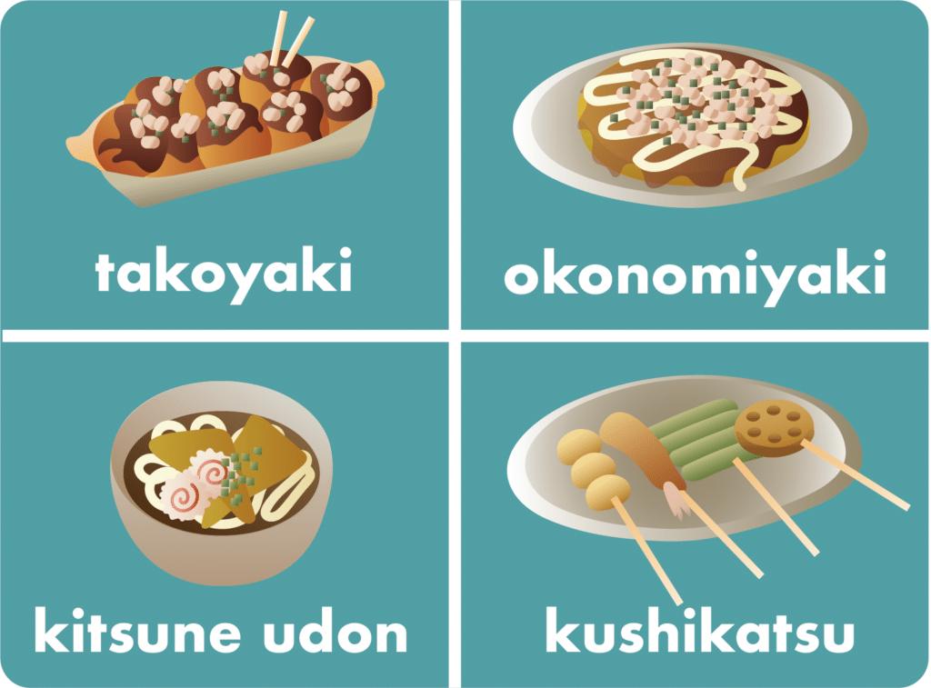 Popular Osaka foods.