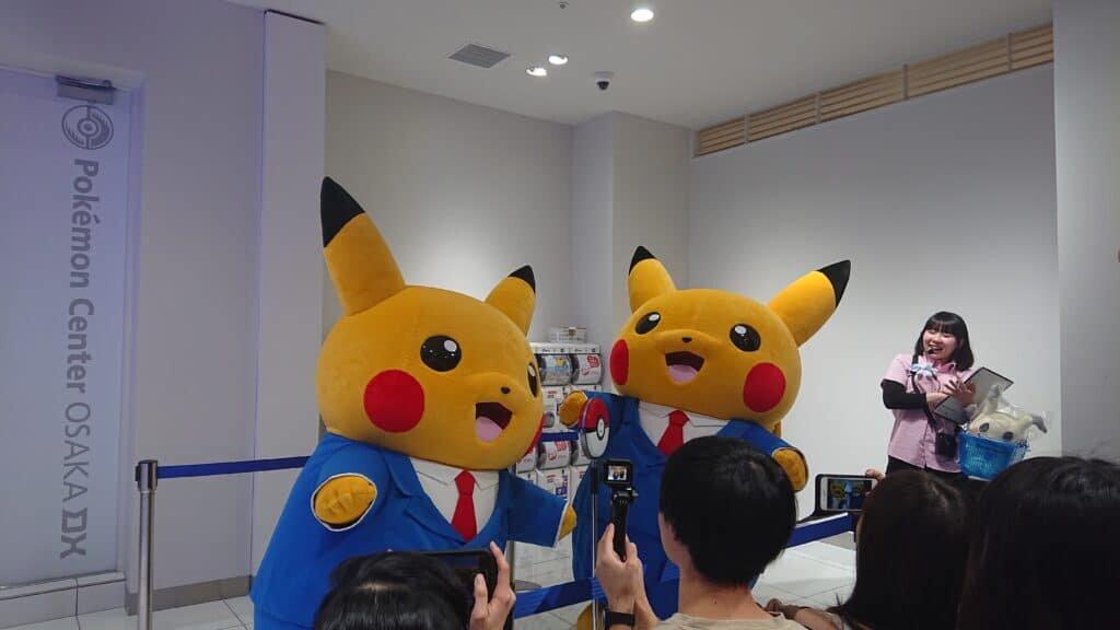 Manzai-style Pikachu mascots at Pokemon Center Osaka DX.