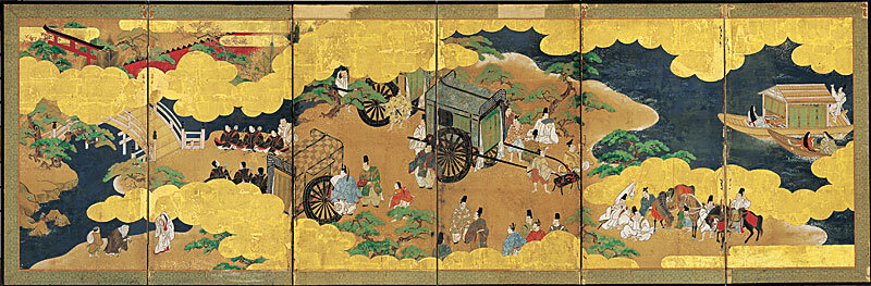 A visit to Sumiyoshi Grand Shrine in a picture scroll of 'The Tale of Genji'.
