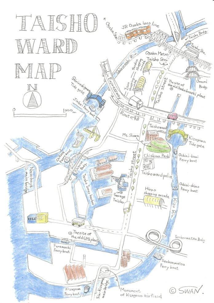 Taisho Ward with key landmarks