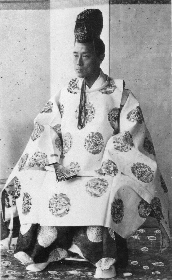 1867 photograph of Tokugawa Yoshinobu, the last shogun. Source: Wikipedia https://commons.wikimedia.org/wiki/File:1867_Osaka_Yoshinobu_Tokugawa.jpg
