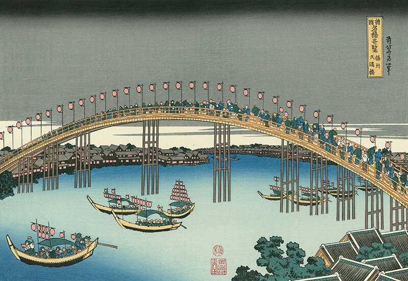 Hokusai's 'Tenmabashi, Settsu Province' Source: Adachi Hanga https://www.adachi-hanga.com/ukiyo-e/items/hokusai099/