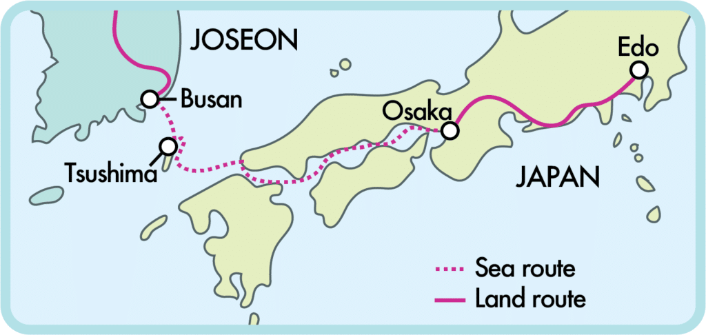 Route taken by envoys from Joseon to Japan.