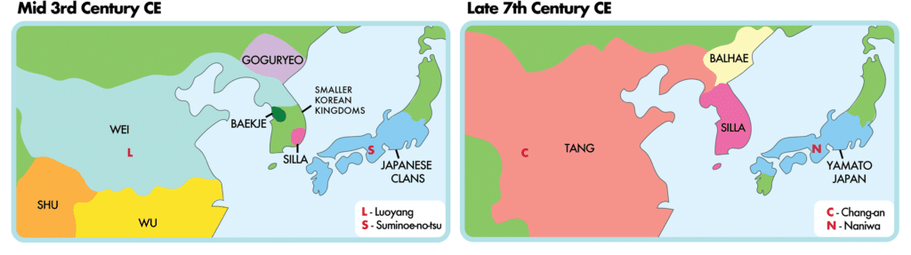 Maps showing political shifts in East Asia during early Japanese history (borders are approximate).