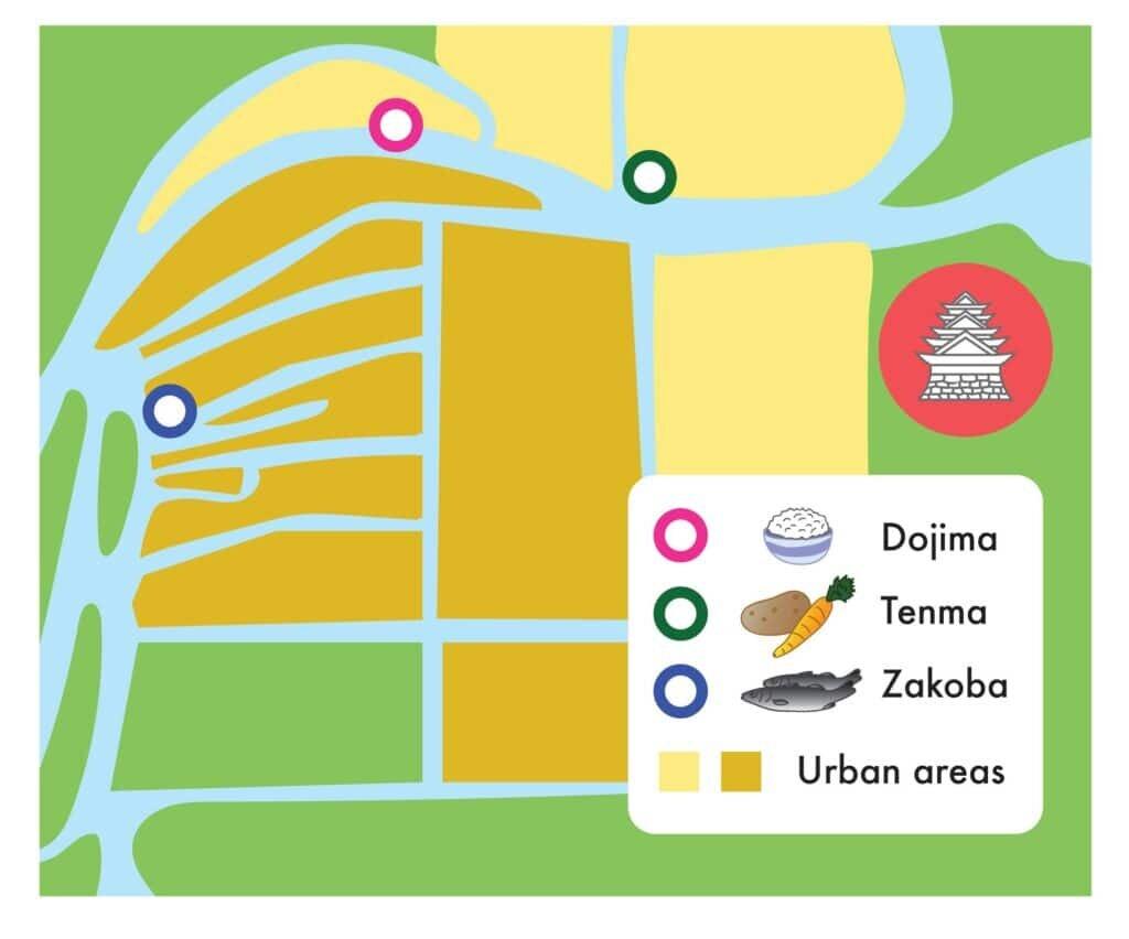 Map of major markets in Edo Period Osaka.