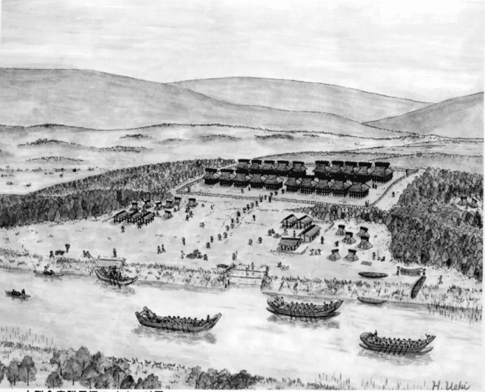 Depiction of storehouses in Naniwa around the 5th century CE. Source: Richard Pearson https://www.researchgate.net/publication/328203195_Osaka_Archaeology
