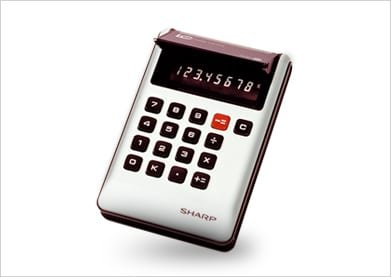 The first LCD pocket calculator, Sharp's EL-805. Source: Sharp https://global.sharp/corporate/info/his/only_one/item/t13.html