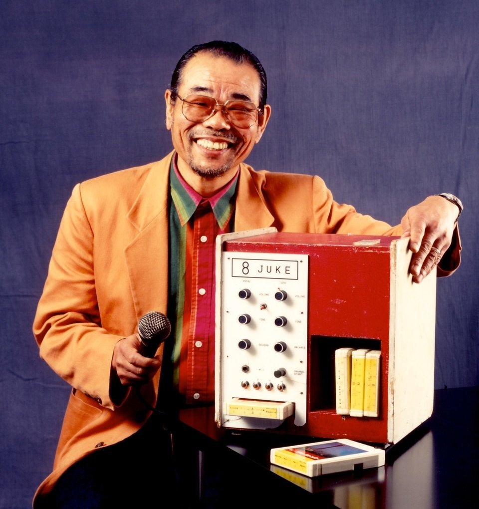 Inoue Daisuke with an early karaoke machine. Source: The Appendix http://theappendix.net/issues/2013/10/voice-hero-the-inventor-of-karaoke-speaks