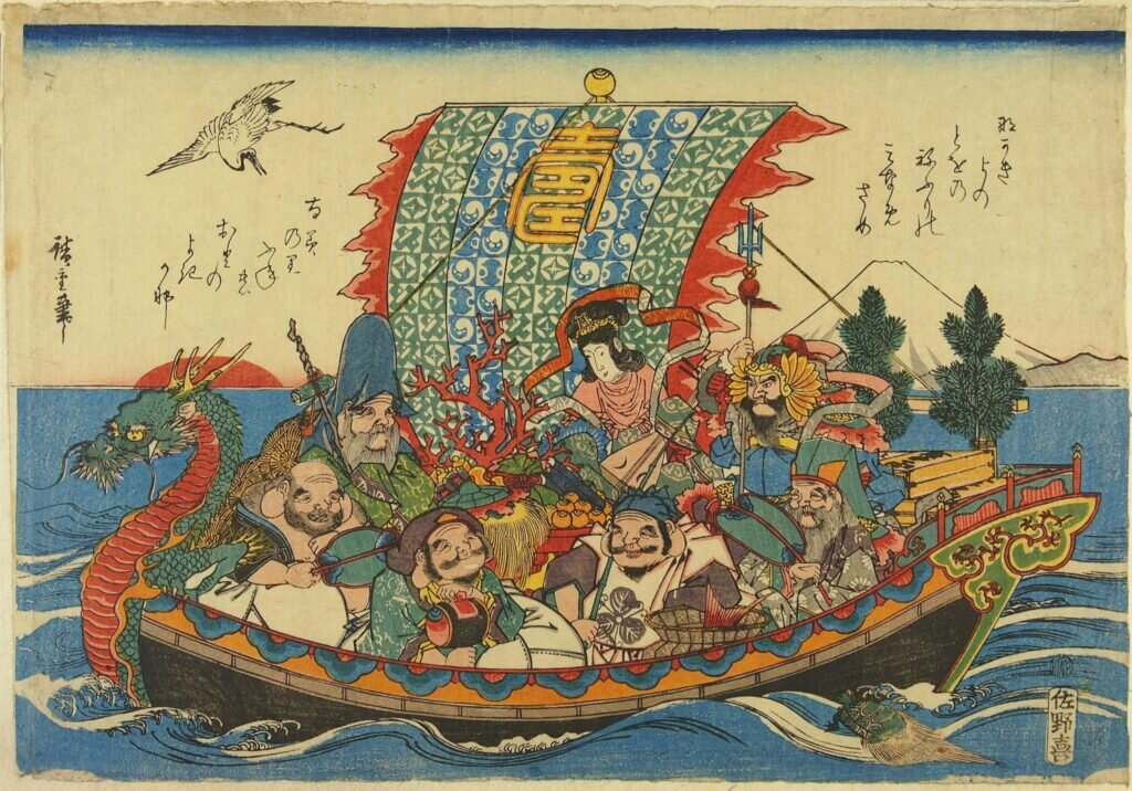 The Seven Lucky Gods on the takarabune. Source: Victoria & Albert Museum https://collections.vam.ac.uk/item/O74843/the-treasure-ship-woodblock-print-utagawa-hiroshige