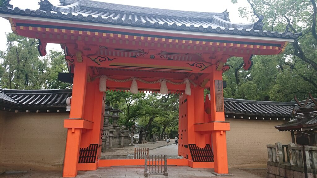 The recently restored main gate of Nishinomiya Shrine.